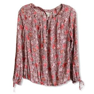 Lucky Brand Floral Button Detail Cinch Sleeve Top